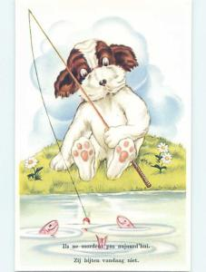 Pre-Chrome foreign HUMANIZED DOG WITH FISHING ROD SEES THE FISH HL9494