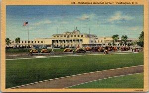 Vtg 1940s Washington National Airport Washington DC Linen Postcard