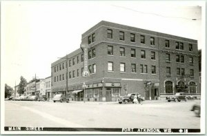 1940s FORT ATKINSON, Wisconsin RPPC Real Photo Postcard MAIN STREET Downtown