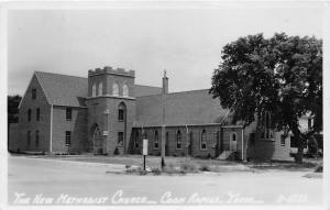 Coon Rapids Iowa~New Methodist Church~Sign by Street~Vintage RPPC R-6822