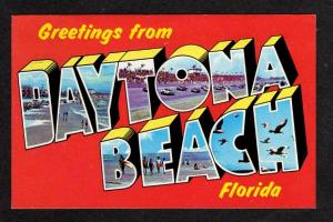 FL Greeting DAYTONA BEACH FLORIDA Large Letter Postcard