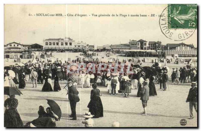 Postcard Old Soula Sea Cote Generale Silver View of the Beach at low tide