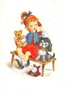 US4836 Little Girl at Phone, Dogs Postcard old telephone