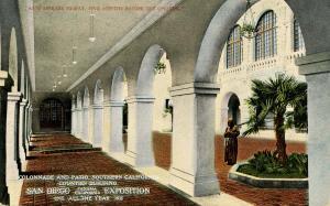 CA - San Diego. 1915 Panama-California Expo. Southern CA Bldg Collonade