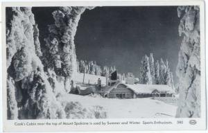RPPC of Cook's Cabin near top of Mount Spokane Washington WA