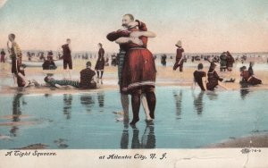ATLANTIC CITY, New Jersey, PU-1908; A Tight Squeeze, Couple Embracing