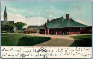 GOHOES NY RAILROAD STATION UNDIVIDED ANTIQUE POSTCARD railway train depot