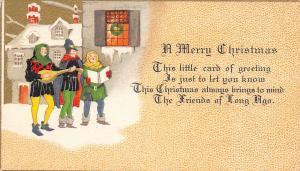 Christmas~Art Deco~Minstrels Carol Outside Village Window~Snow~Gold Sky~Bavaria