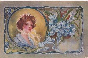 Female Head portrait , Blue Flowers , PU-1911