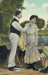 Postcard Elegant romantic couple vintage retro outfits park picture