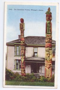 Kadashan Totems Wrangell Alaska Vintage Postcard