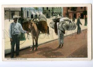 147485 USA PUERTO RICO SAN JUAN Hat vendors Vintage postcard