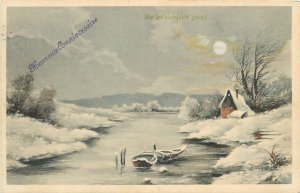 Postcard art drawing river winter snow house frozen boat sunset