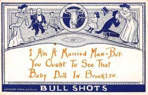 Brooklyn New York Bull Shots Romance Greetings Vintage Postcard JE229036