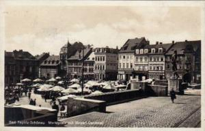 RP: Bad-Teplitz-Schonau , Markplatz mit Mozart Denkmal, Czech Republic , PU-1930