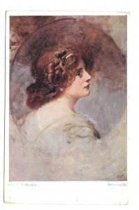Sehnsucht Beautiful Woman Vanity Eduard Veith Artist Austris BKWI 884a Postcard