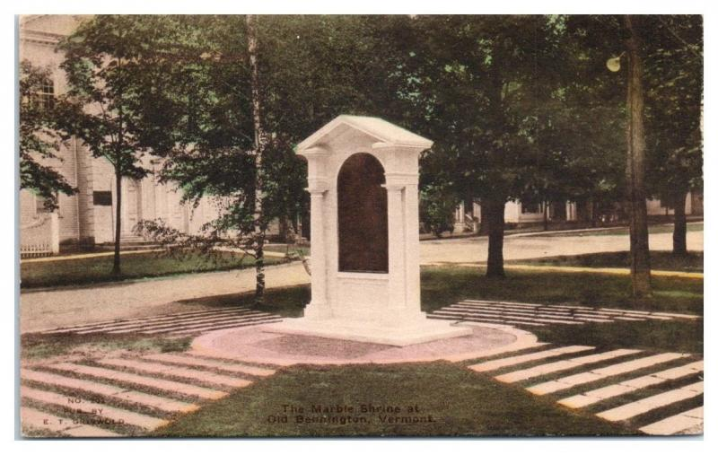 First Church of Christ Marble Shrine, Bennington, VT Hand-Colored Postcard