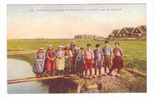 Fisherman's Children Standing Waterside, Fishing Town, Eiland-Marken, Holland...