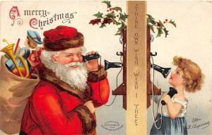 E34/ Santa Claus Merry Christmas Holiday Postcard c1910 Ellen Clapsaddle Phone13