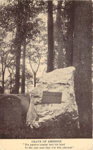 Concord Massachusetts~Grave of Ralph Waldo Emerson~Boulder Marker~1910 Postcard