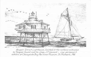 1950s Sailboat Lighthouse St Michael's Maryland RPPC Photo Postcard Moll 12932
