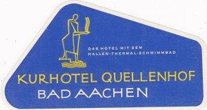 Germany Bad Aachen Kurhotel Quellenhof Vintage Luggage Label sk2673