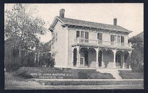 James Whitcomb Riley's House Greenfield IN unused c1910's