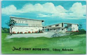 Sidney, Nebraska Postcard FORT SIDNEY MOTOR HOTEL Artist's View Dexter Chrome