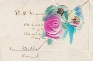 BIRTHDAY, 1900-10s; Embossed, Cut-out Fold, Pink Rose, Glitter Detail, Rhyme