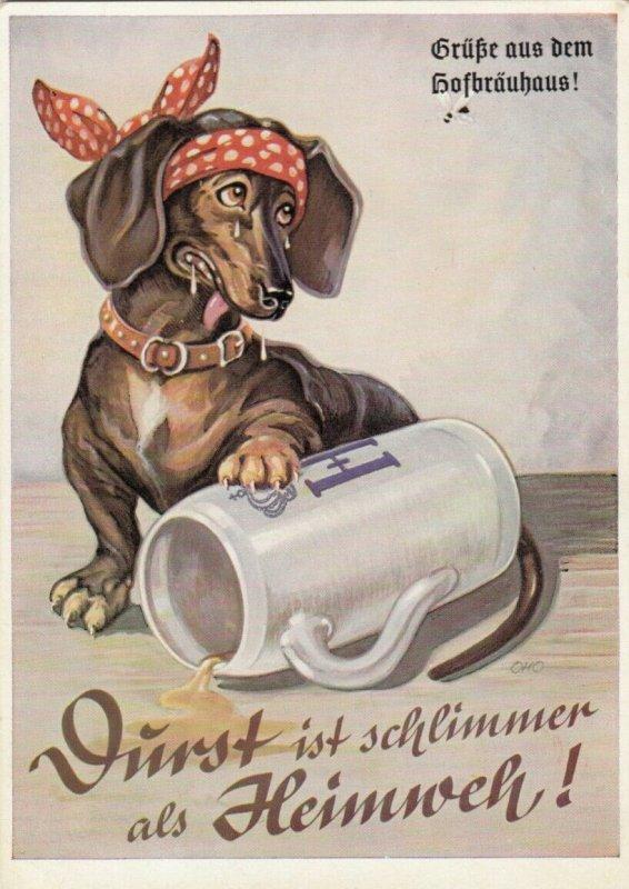 Dachshund & Beer Mug , Poster Art Ad , 30-40s ; Hofbrauhaus , Munchen , Germany