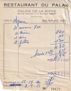 Restaurant Du Palais De La Biere Nancy 1950s Hotel Receipt