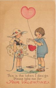 MEP Margaret Evans Price~Boy Gives Handmade Valentine To Girl~Scissors~Ser 1405D