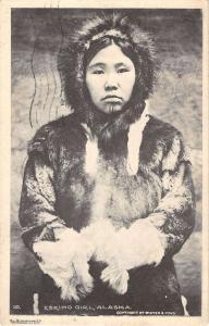 Alaska Eskimo Girl Women In Furs Antique Postcard K29859