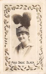 Lovely Lady~Miss Sadie Black~Flapper Headband & Feathers~1920s Real Photo~RPPC