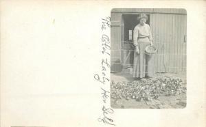 Alma Sheldon Jackson C-1910 Rural Life Woman feeding Chicks RPPC postcard 2335