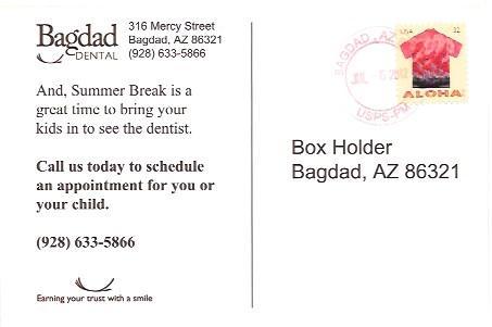 US Post Card #4592  Surfers & Palm Trees.  Dental Ad