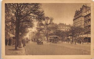 Vintage Postcard PARIS The Les Grands Boulevards Cars Bus #P