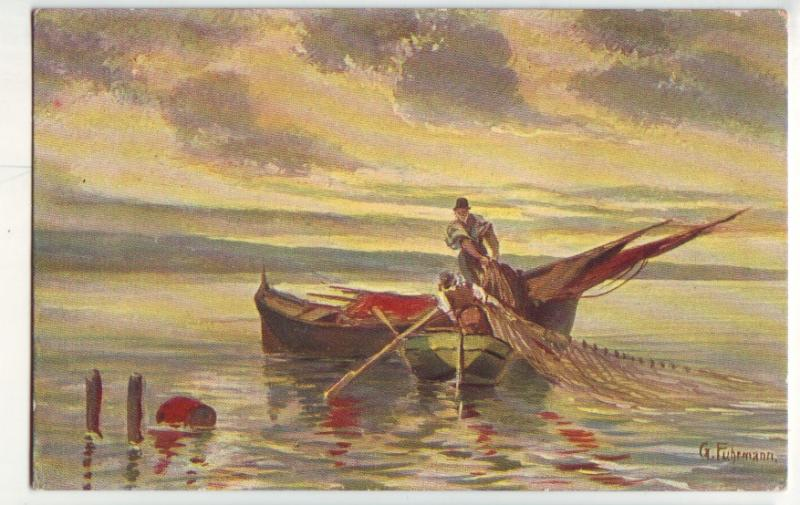 P874 old art card fishing scene fishermen boat nets etc signed