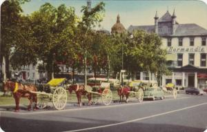 Horse Carriages, Place D'Armes Square, Montreal Quebec, Canada, 1955 PU