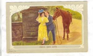 Couple Cuddling, Horse, Miss Shy Ann, PU-1910