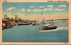 Maine Portland Waterfront 1951 Curteich