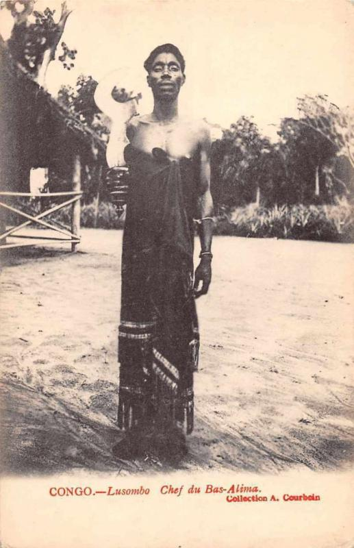 Bas Alima Congo Africa Chief Lusombo Antique Postcard J61053