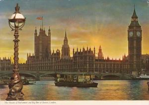 England London Houses Of Parliament and Big Ben At Sunset 1977