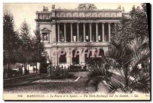 Old Postcard Marseille Stock Exchange and the Square