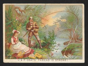 VICTORIAN TRADE CARD Coat's Thread Calendar Couple Fishing