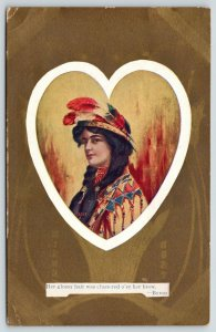 Valentine~Lovely Indian Maid~White Heart~Art Nouveau Gold Back~Byron Quote~1910
