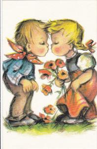 AS: Bonnie, Little Boy and Girl About to Kiss, Little Girl Holding a Flower B...