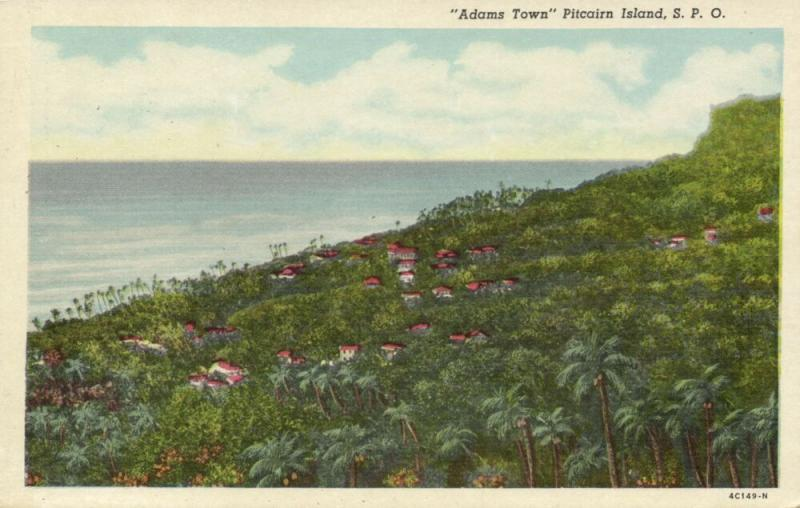 pitcairn islands, ADAMS TOWN, Panorama (1930s)