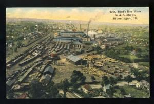 Bloomington, Illinois/IL Postcard, Birdseye View, C. & A. Shops, 1911!