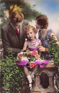 Family photo, girl, roses, elegant glamorous parents, suit, dress, vintage